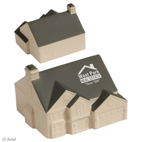 Promotional products: Modern House Stress Reliever Light Brown/dark Gray