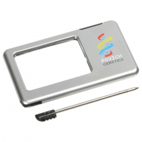 Promotional products: SILVER THIN LIGHT-UP MAGNIFIER