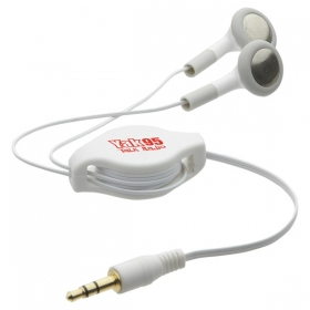 Promotional products: AUTO RECOIL EARBUDS WHITE