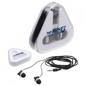 Promotional products: EARBUDS TRI-CADDY WHITE/BLACK