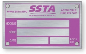 """Promotional products: .032"""" Brushed Anodised Aluminum Metal Plates, Screen-printed"""