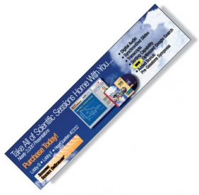 "Promotional products: .020 White Styrene Plastic Monitor Billboard / with adhesive back & plain front (2.75"" x 11.5"") Four color process"