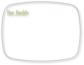 """Promotional products: The Bar Buddy is a Flexible Cutting Board on FDA approved .030 clear plastic, rectangular  (5.75"""" x 7.5"""") Sub-Surface Screen printed Spot color imprint"""