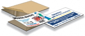 "Promotional products: .020 Magnetic Business Card Blanks - 1 Piece (2"" x 3.5"") Adhesive front"