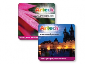 "Promotional products: 14 pt Square Card Stock Coaster with Glossy UV varnish 4CP front & back non-absorbant 3.875"" x 3.875"""