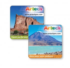 "Promotional products: 18 pt Square Card Stock Coaster with Glossy Lamination, 4CP front & back, non-absorbant, 3.88""x 3.88"""