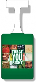"Promotional products: .010 white vinyl shelf danglers (3.375"" x 4.75"") Four color process"