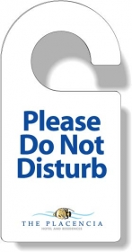 "Promotional products: .020 White Vinyl Door Hangers (3.75"" X 7.5"") Screen-printed"