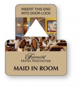 "Promotional products: White Vinyl Door Lock Insert (3"" x 3.5"") four color process"
