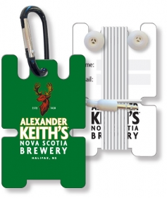 Promotional products: Earbud Stasher In .025 Compressed Laminated Pvc Plastic, Full Color On Front.optional Back Imprint, Signature Panels, Attached Carabiner Priced Separately