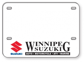 "Promotional products: .060 White Styrene Licence Plates (5.625"" x 7.875"") screen-printed"
