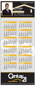 "Promotional products: 14 Pt Card Stock Calendars With Magnetic Back (3.5"" X 8.5"") Four Color Process On Front And Back"