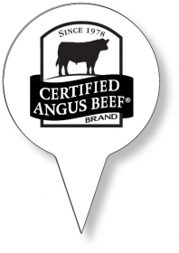 "Promotional products: Food Pick on FDA approved .030 white plastic, Circle Sign Shape (2"" dia.) Screen printed"