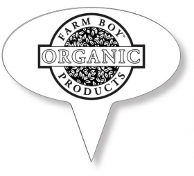 "Promotional products: Food Pick on FDA approved .030 white plastic, Oval Sign Shape (1.75"" x 3.25"") Screen printed"