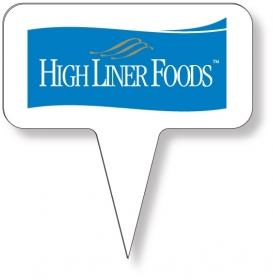 "Promotional products: Food Pick on FDA approved .030 white plastic, Rectangle Sign Shape (1.5"" x 3"") Screen printed"