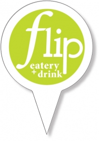 "Promotional products: Food Pick on FDA approved .030 white plastic, Circle Sign Shape (3.5"" dia.) Screen printed"