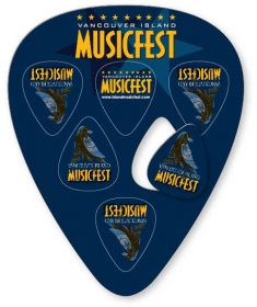 "Promotional products: Large Guitar Pick Shape With 6 Picks, .030 White Compressed Laminated Plastic (3.75"" X 4.75""); Digital 4 Color Process"
