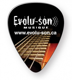 "Promotional products: Guitar Pick, .030 White Compressed Laminated Plastic (0.95"" X 1.17""); Digital 4 Color Process"