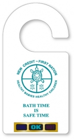 """Promotional products: .020 White Gloss Vinyl Plastic Hanging Bath Thermometers (2.63"""" x 5.25"""") Screen-printed"""