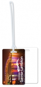 "Promotional products: .020 White Gloss Vinyl Luggage Tags / with loop attached (2.125"" x 3.375"") Four color process"
