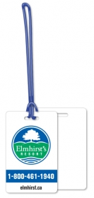 "Promotional products: .020 White Gloss Vinyl Luggage Tags / with loop attached (2.125"" x 3.375"") Screen-printed"
