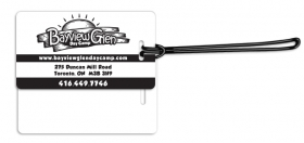 """Promotional products: .020 White Gloss Vinyl Luggage Tags / With Loop Attached (2.375"""" X 4.25"""") Screen-printed"""