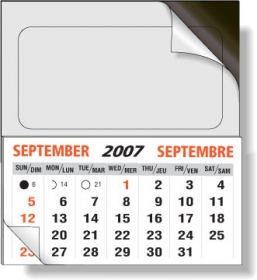 "Promotional products: .020 Non-printed magnet with peel & stick adhesive front (2"" x 3.5"") and calendar pad attached"