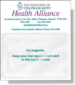 """Promotional products: .020 Stock Shape Magnetic Card Holder With Side Opening Clear Vinyl Pouch For Slide-in Card (3.75"""" X 4.25"""") Screen-printed"""