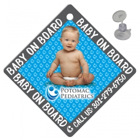 "Promotional products: On Board Sign .040 White Styrene 5"" x 5""; four color process; 7/8"" dia. suction cup in bulk"
