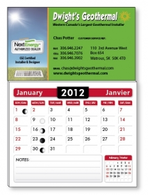 "Promotional products: 14 pt Card stock Business Card with adhesive back and stock calendar pad attached, square corners (2"" x 3.5"") Four color process on 1 side only"