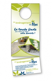 "Promotional products: 14 pt Cardstock Doorhanger 3.5"" x 8.5"" 4 Color Process Both sides / Tare-off coupon 1.875"" x 3.5"""