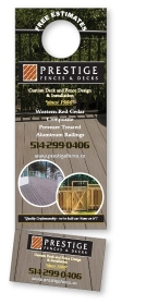 "Promotional products: 14 pt Cardstock Doorhanger 3.5"" x10.5"" 4 Color Process Both sides / Tare-off coupon 2"" x 3.5"""