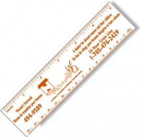 "Promotional products: .020 White Gloss Vinyl Plastic 6"" Rulers / with square corners (1.5"" x 6.25"") Screen-printed"