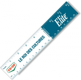 "Promotional products: .020 White Gloss Vinyl Plastic 8"" Rulers / with square corners (1.5"" x 8.25"") Screen-printed"