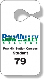 "Promotional products: .020 Stock Shape White Gloss Vinyl Plastic Parking Tags (2.75"" X 5.25"") Screen-printed"