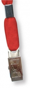 """Promotional products: Stock 36"""" Red Lanyard with 3/8"""" bull dog clip in BULK"""