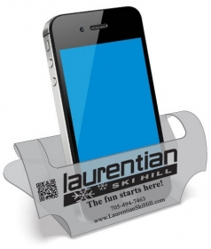 "Promotional products: Dry-Dok Smartphone Stand in .020 translucent polypropylene Standard style SST2 (3.9"" x 8"") Screen-printed"