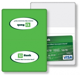 "Promotional products: Vinyl Wallet business card holder, open size (3.88"" x 5.38"") closed size (3.88"" x 2.63"") screen-printed"