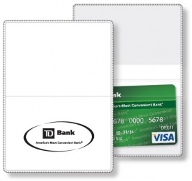 "Promotional products: Econo White Vinyl Wallet business card holder open size (3.875"" x 5.375"") closed size (3.875"" x 2.625"") screen-printed"