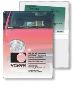 """Promotional products: Vinyl Wallet Liability & Registration holder open size (4.5"""" x 6"""") closed size (4.5"""" x 3"""") Four color process"""