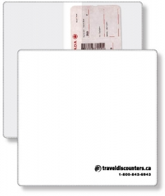 "Promotional products: Econo White Portfolio Travel & Passport holder, open size (9.25"" x 9.5"") closed size (9.25"" x 4.75"") screen-printed"