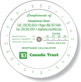 "Promotional products: .020 Custom Imprinted White Gloss Vinyl Plastic Wheel Calculator / Mortgage Payment (4.25"" dia.) Screen-printed"
