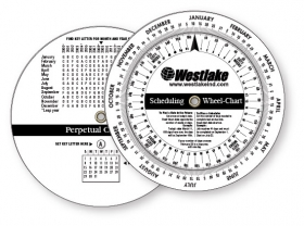"Promotional products: .020 Custom Imprinted White Gloss Vinyl Plastic Wheel Calculator / Perpetual Calendar & Scheduling Calculator (4.25"" dia.). Screen-printed"