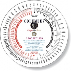 "Promotional products: .020 Custom Imprinted White Gloss Vinyl Plastic Wheel Calculator / Profit Markup (4.25"" dia.) Four color process"