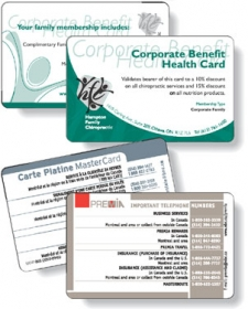 "Promotional products: .030 White Gloss Vinyl Plastic Wallet Cards (2.125"" x 3.375"") Screen-printed"