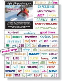"Promotional products: .020 Magnetic Word Set / 74 Pieces (4"" x 5.625"") Four color Process"