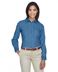 Promotional products: Ladies' 6.5 oz. Long-Sleeve Denim Shirt