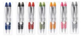 Promotional products: Silver blossom pen/highlighter &pencil/eraser set
