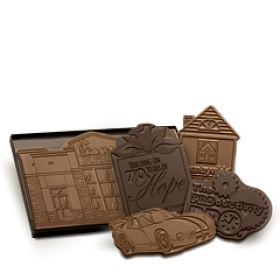 "Promotional products: 2"" X 2"" Custom Shape Chocolate In Cellophane Bag"