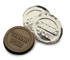 Promotional products: Dark chocolate thank you coin